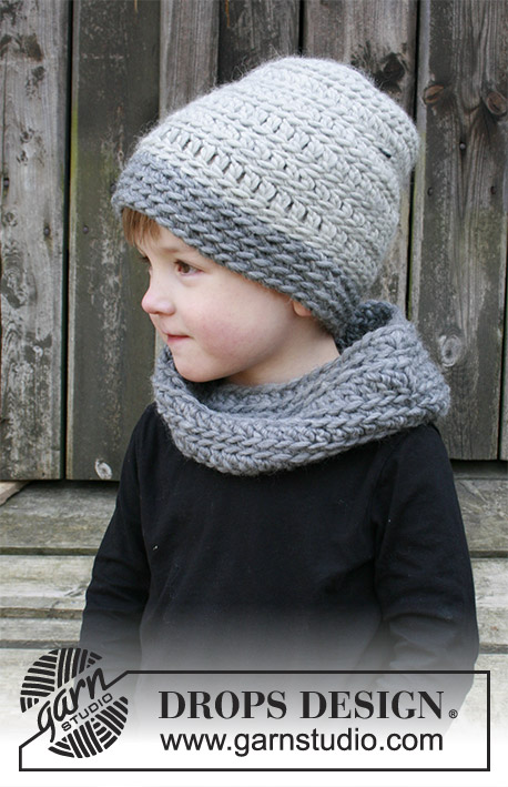Free Children's crochet hat and neck warmer with textured pattern.