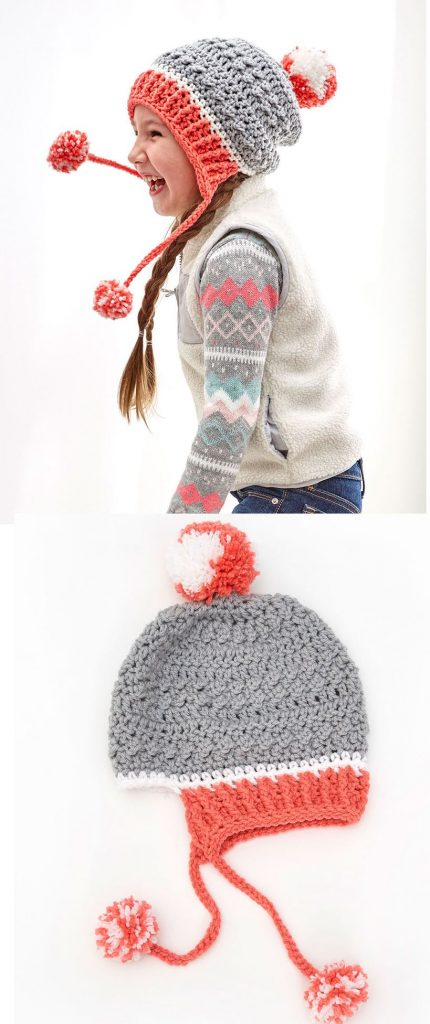 Free Crochet Hat Patterns for Children with pompoms