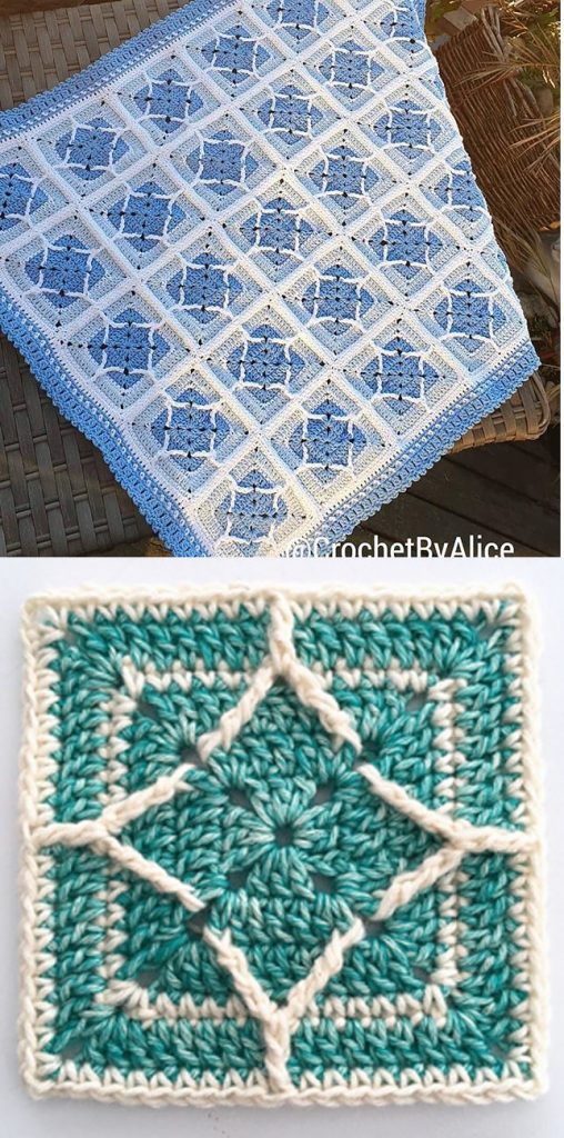 Free Crochet Pattern for a Northern Diamond Square
