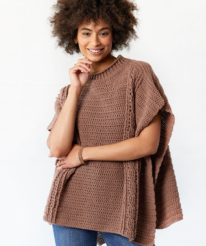 Free Crochet Pattern for a Transitions Cabled Poncho