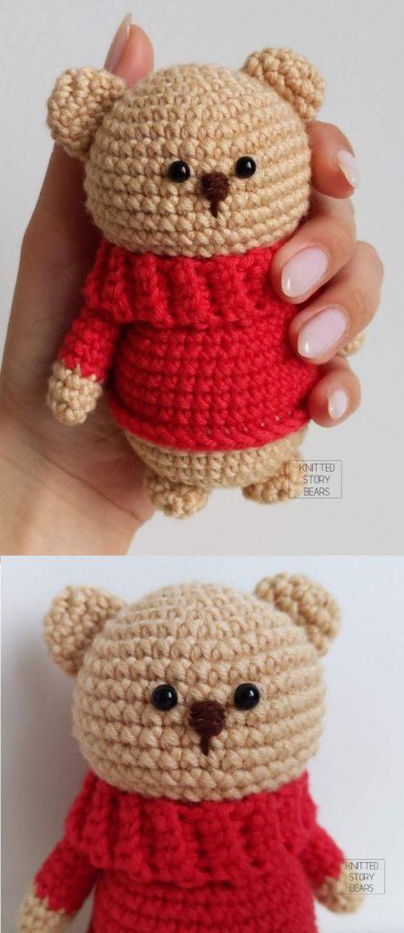 Free Crochet Pattern for an Amigurumi Teddy Bear in a Sweater