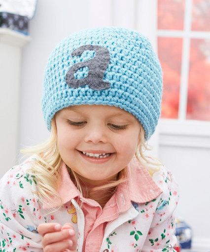 Free crochet pattern for a kids hat with a letter