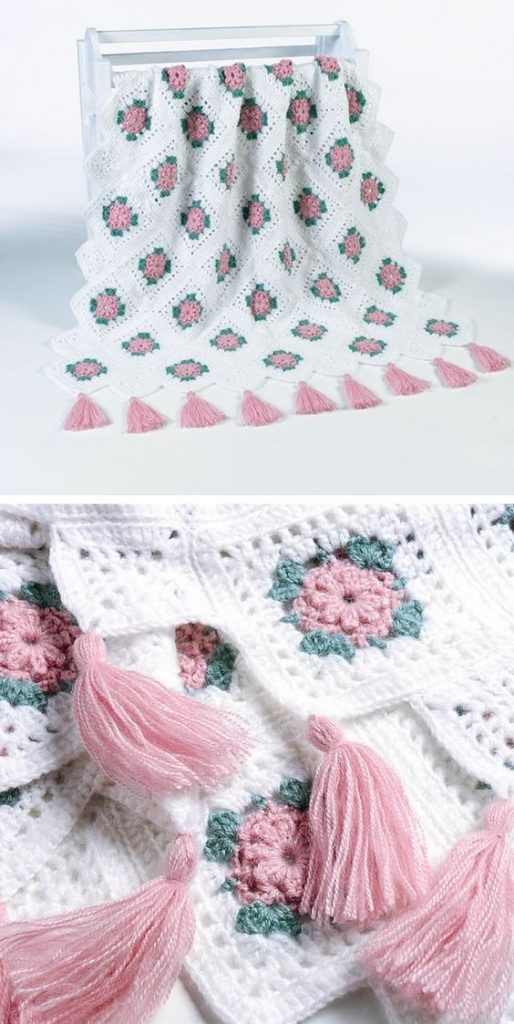 Crochet Flower Blanket Patterns Free rose