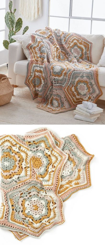 Free Crochet Pattern for a Large Hexagon Blanket