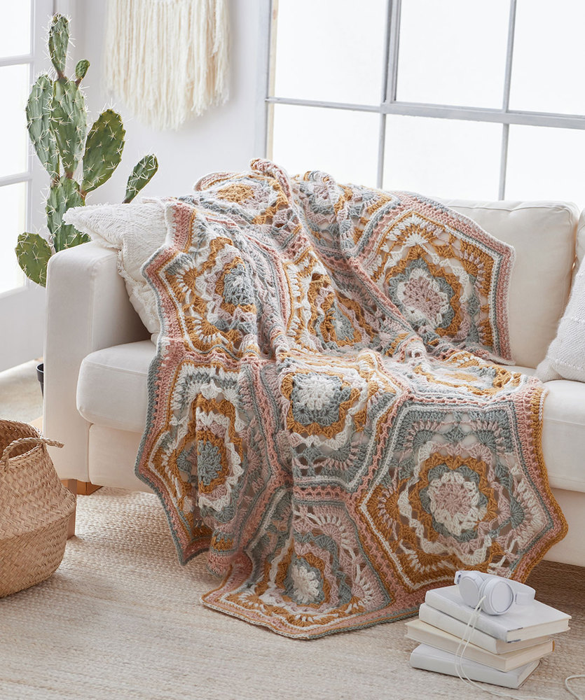 Free Crochet Pattern for a Large Hexagon Blanket - Desert Dreams Throw