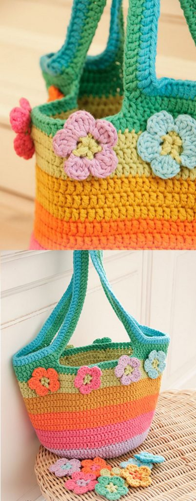 Free Crochet Pattern for a Striped Rainbow Market Bag with Flowers