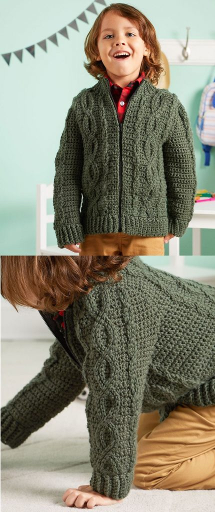 Free Pattern for a Chic Cabled Crochet Jacket for Kids