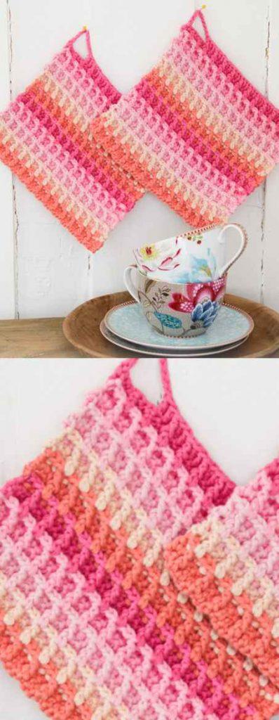 Free Crochet Pattern for a Waffle Rainbow Dishcloth