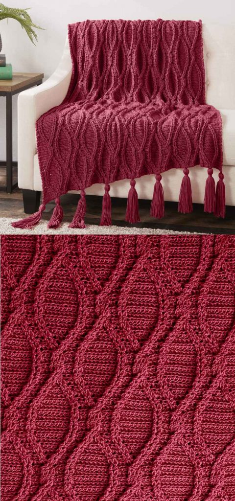 Free crochet pattern for a blanket with cables