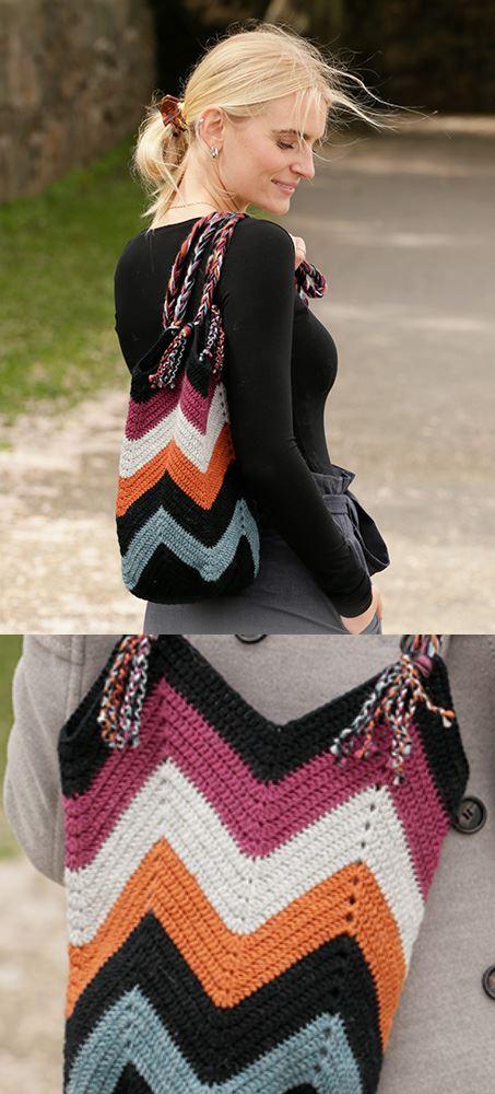 Free crochet pattern for a ripple stitch zig zag bag