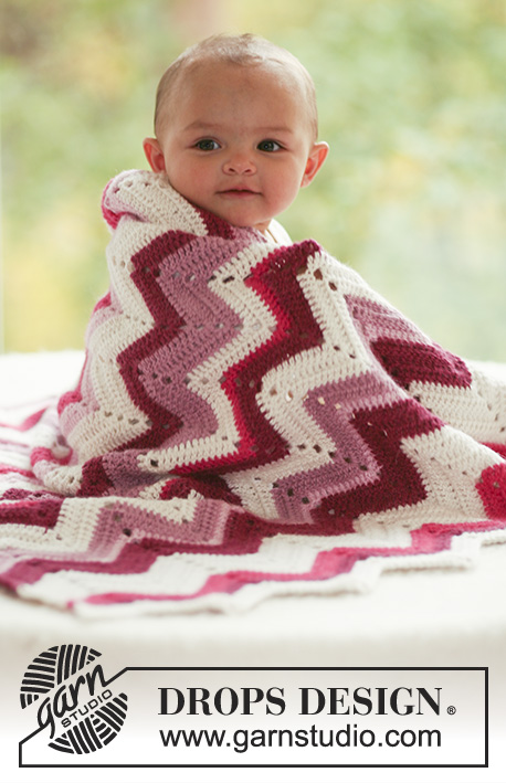 Free Crochet baby blanket with zigzag pattern