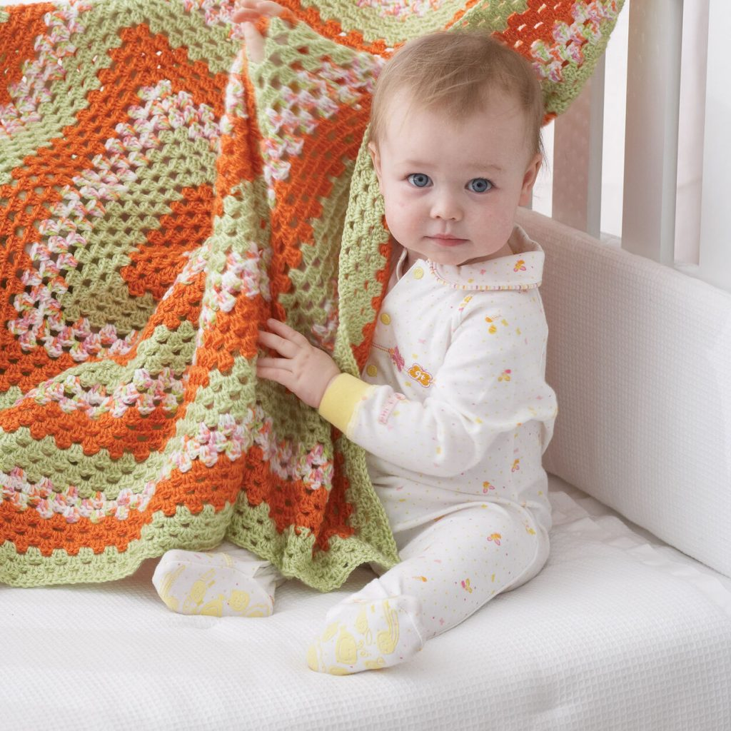 Big granny square crochet blanket for baby pattern