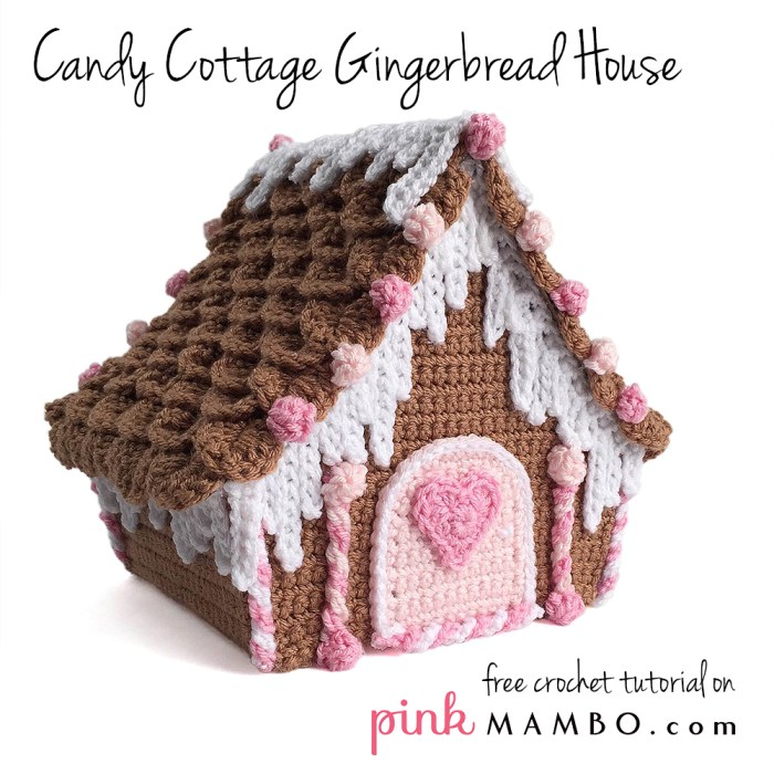 Candy cottage crochet gingerbread house