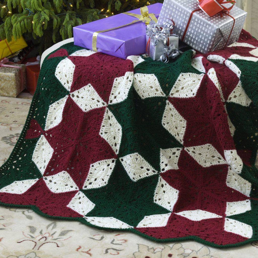 Christmas star throw free crochet pattern