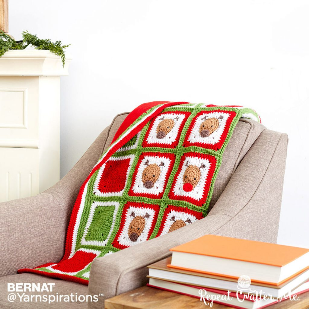 Crochet Christmas Reindeer Blanket Pattern
