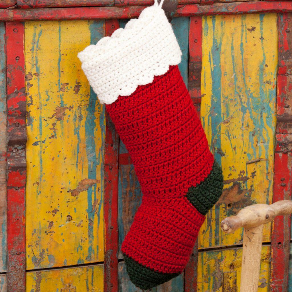 Crochet Christmas stocking easy free pattern