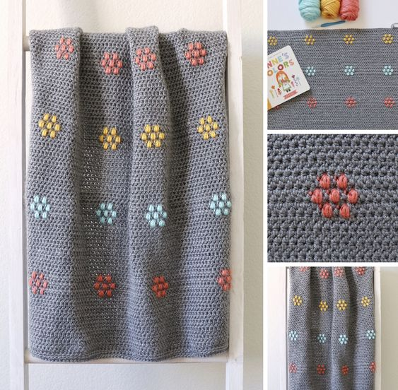 Crochet flower free blanket crochet pattern