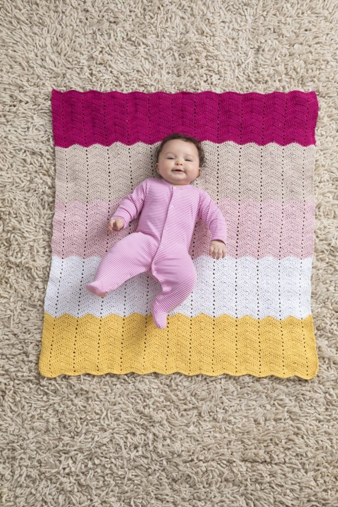Crochet ripple stitch blanket pattern