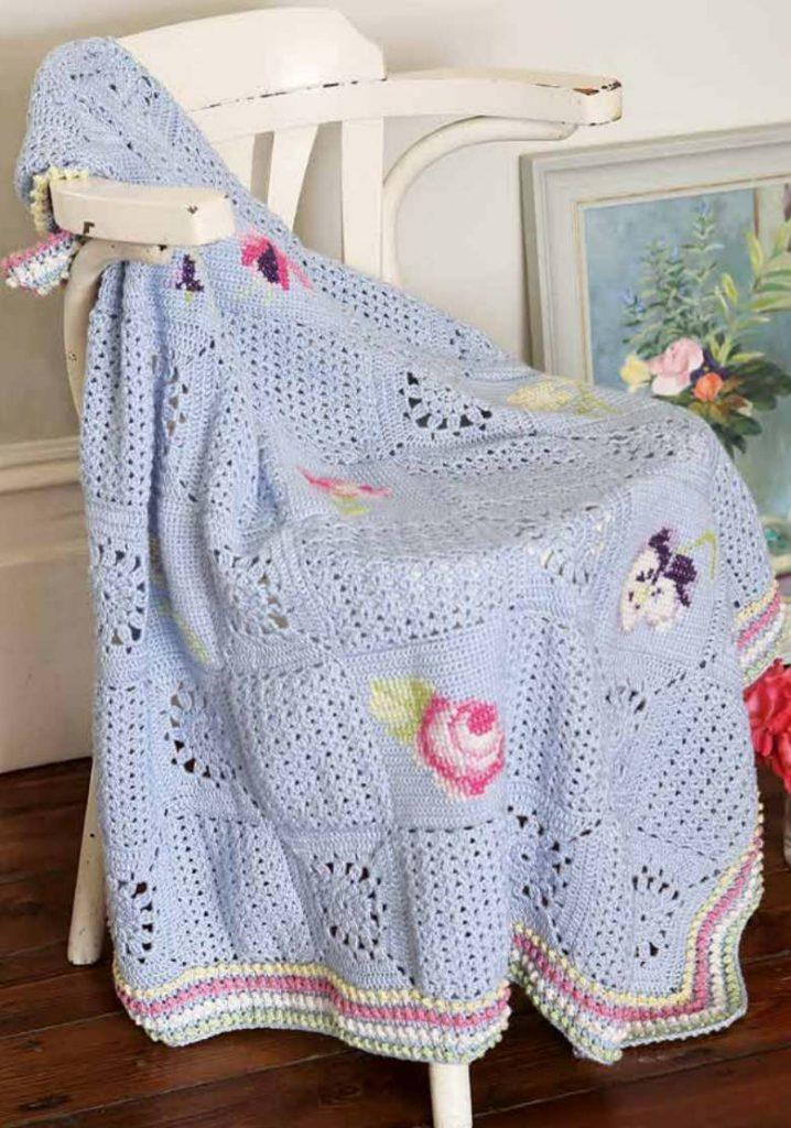 Free Crochet Pattern English Country Garden Blanket