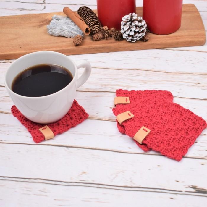 Free crochet C2C Christmas coasters pattern
