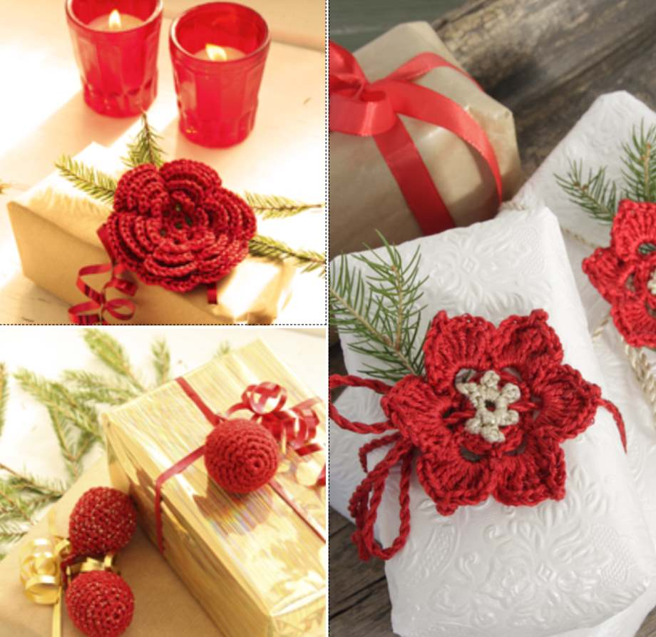 Free crochet Christmas napkin tie pattern