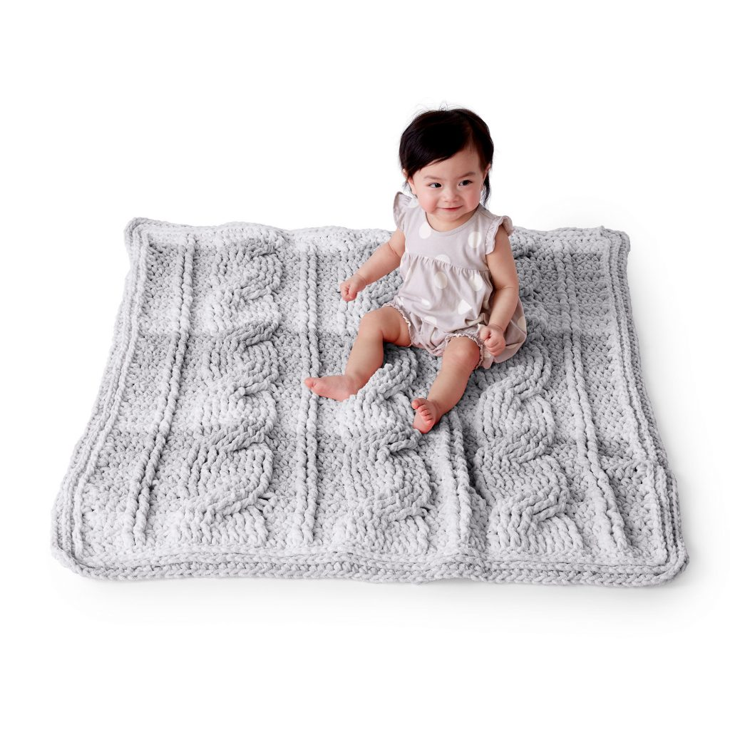 Free crochet baby blanket with cables pattern