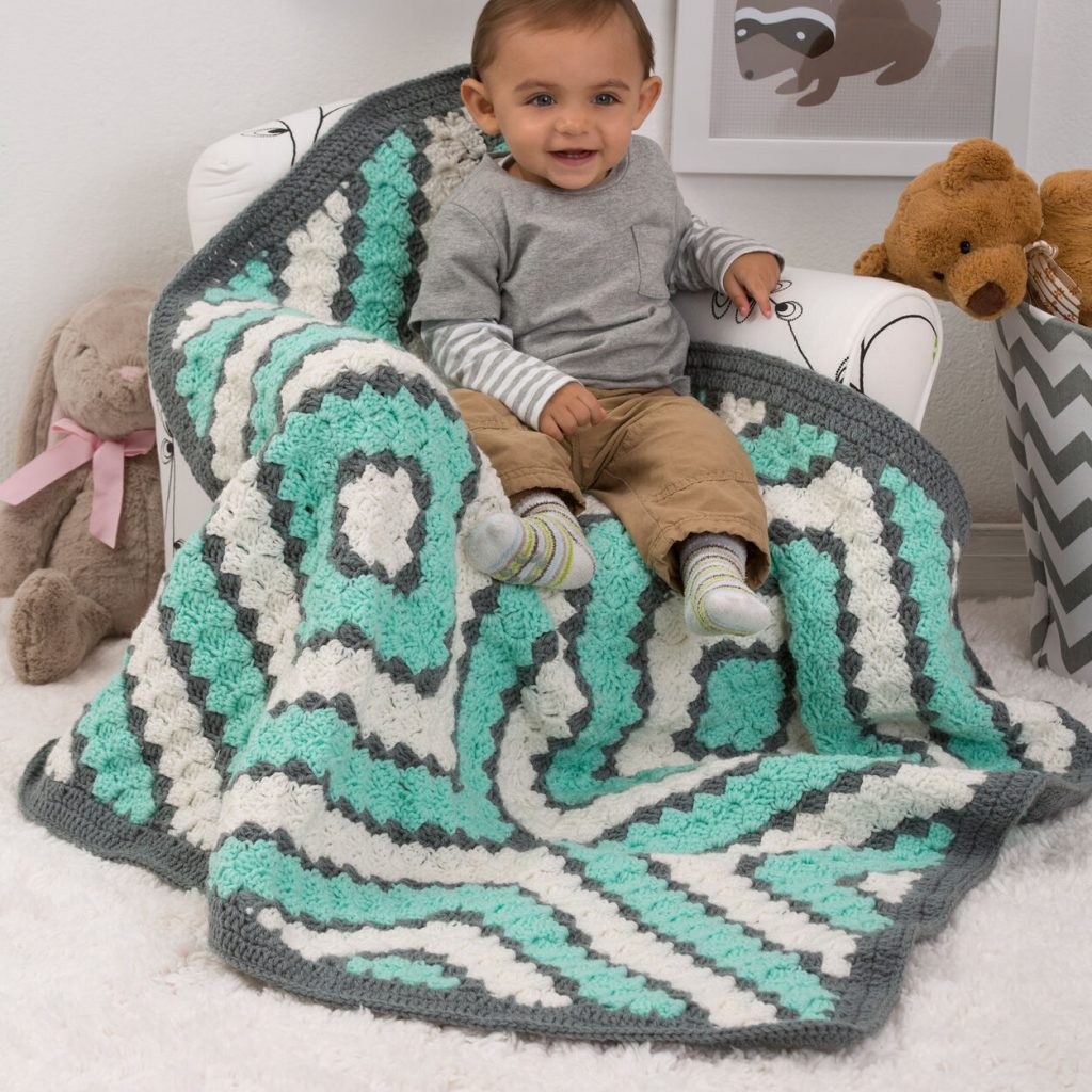 Free crochet baby diamonds blanket pattern