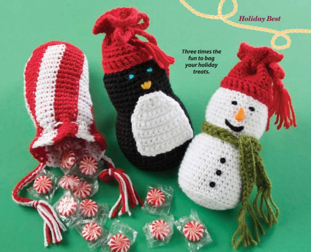 Free crochet pattern for a Christmas Giftbag with Snowman and Penguin