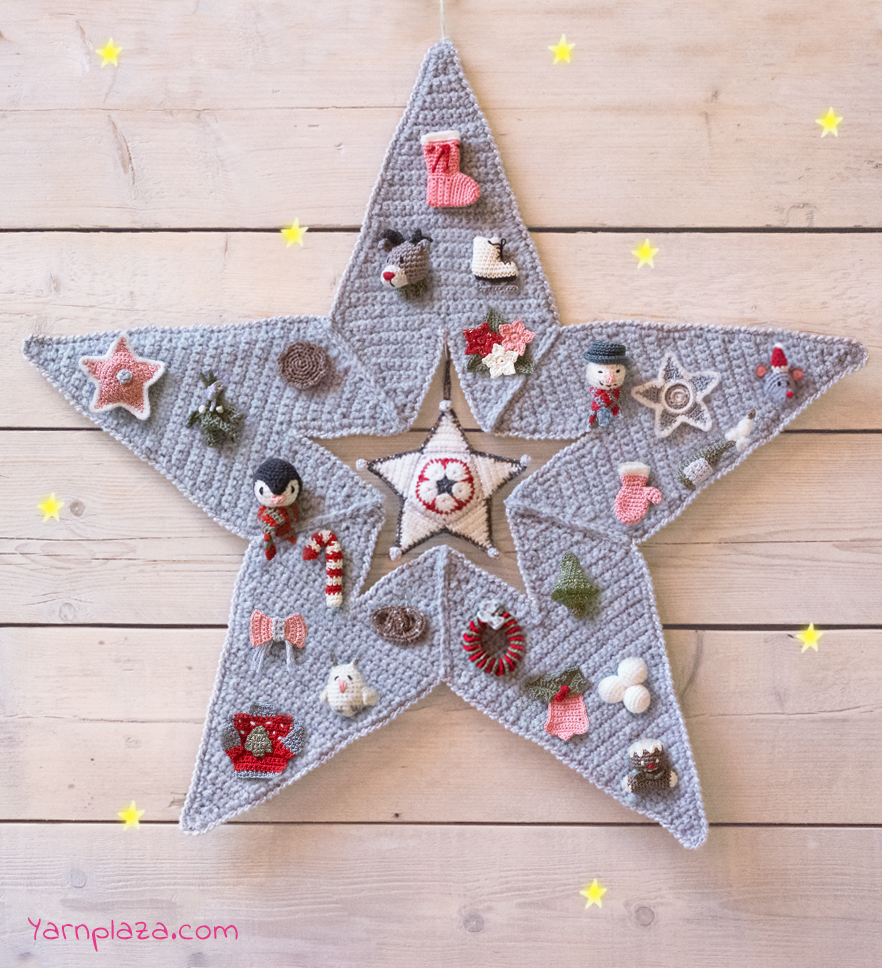 Free crochet advent calendar star pattern