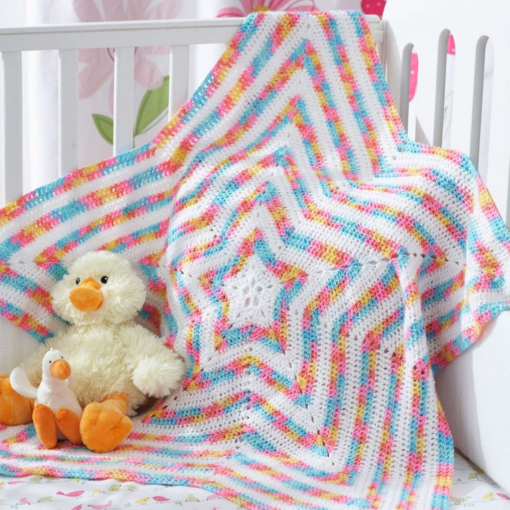 Free crochet pattern for a star baby blanket