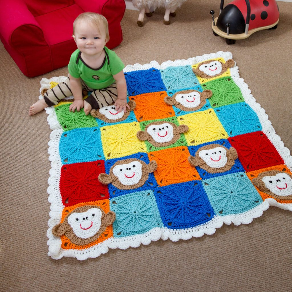 Free monkey around baby blanket crochet pattern