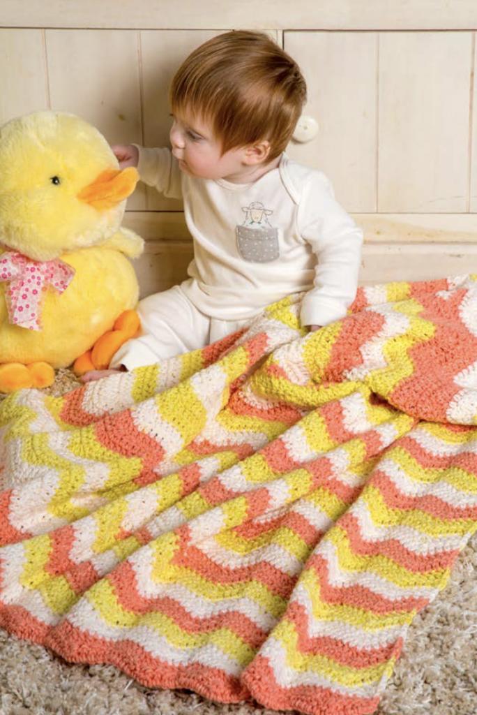 Free ripple crochet baby blanket pattern