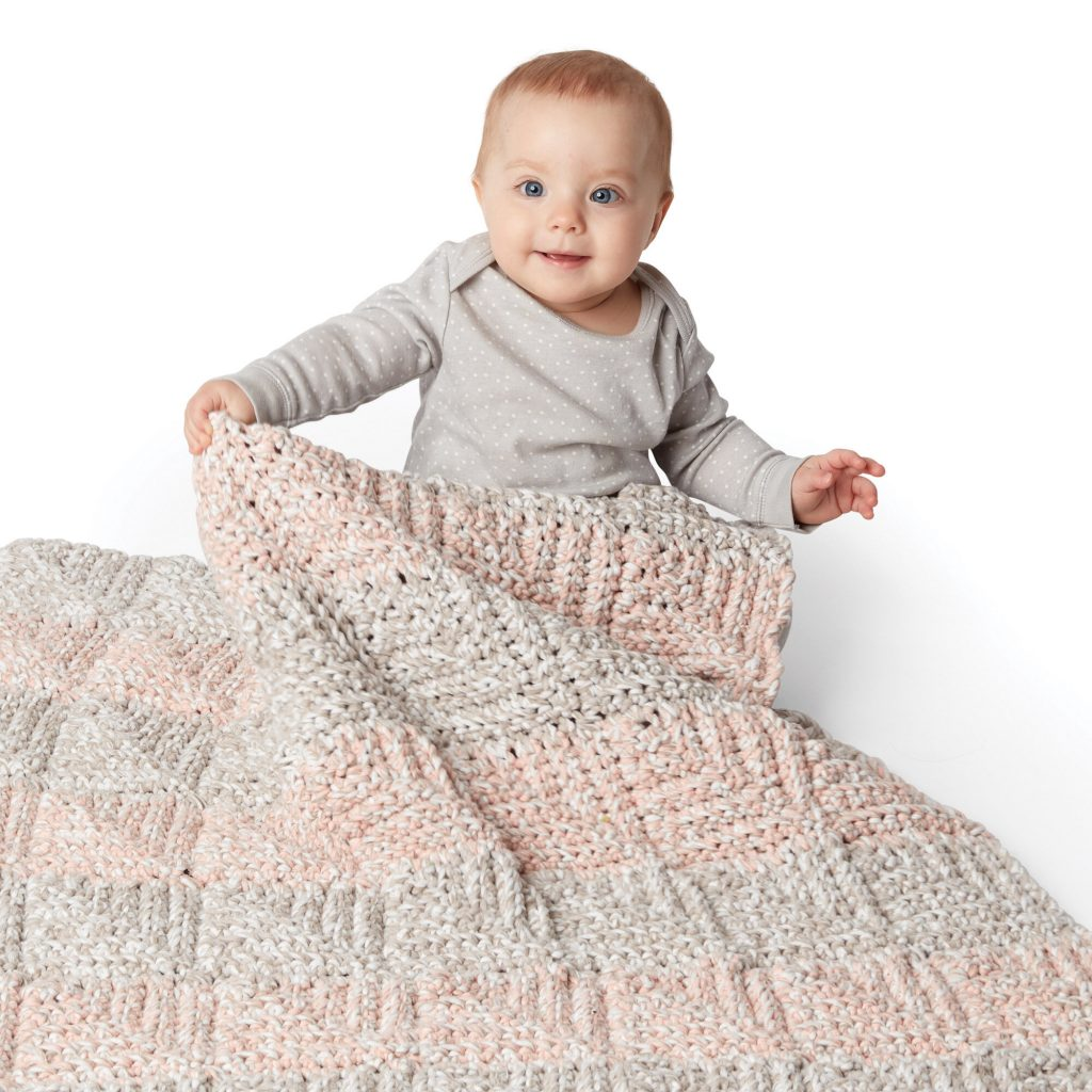 Mitered crochet baby blanket pattern