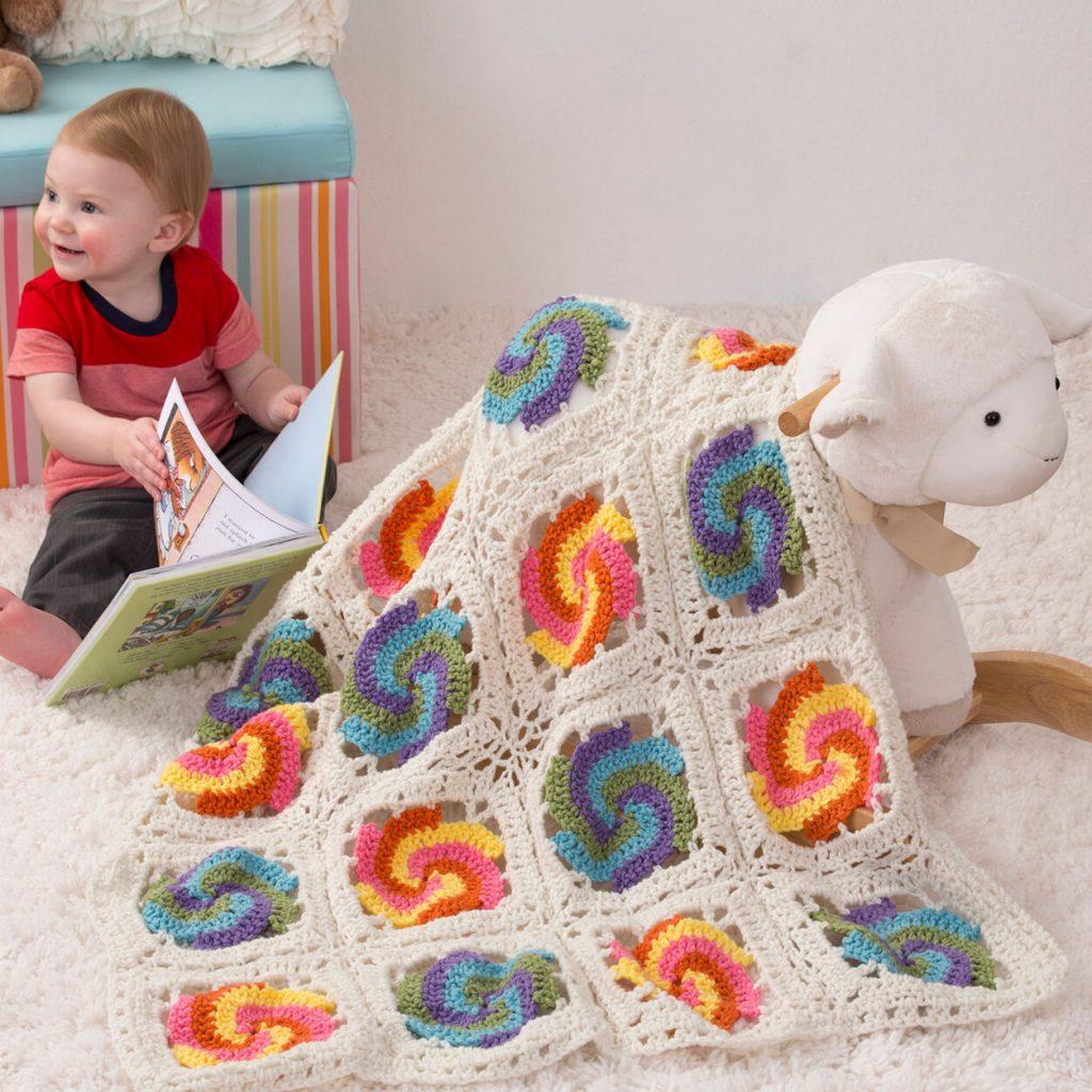 Pinwheel baby blanket crochet pattern