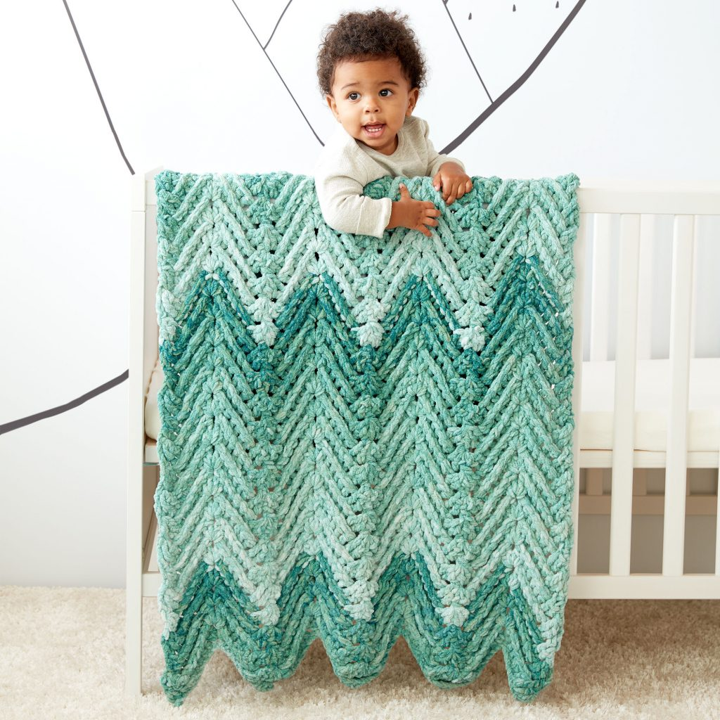 Ridged baby crochet blanket pattern