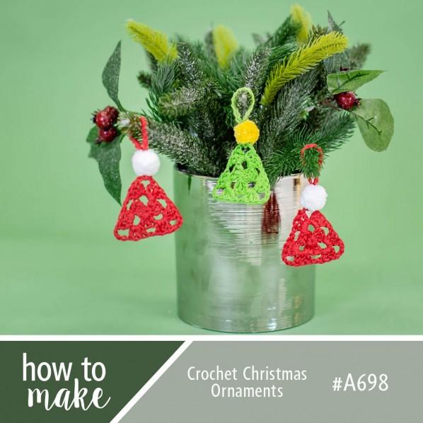 Easy crochet Christmas ornament triangle pattern