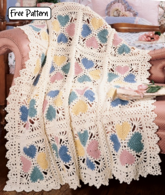 Free Crochet Pattern for a Lacy Heart Afghan