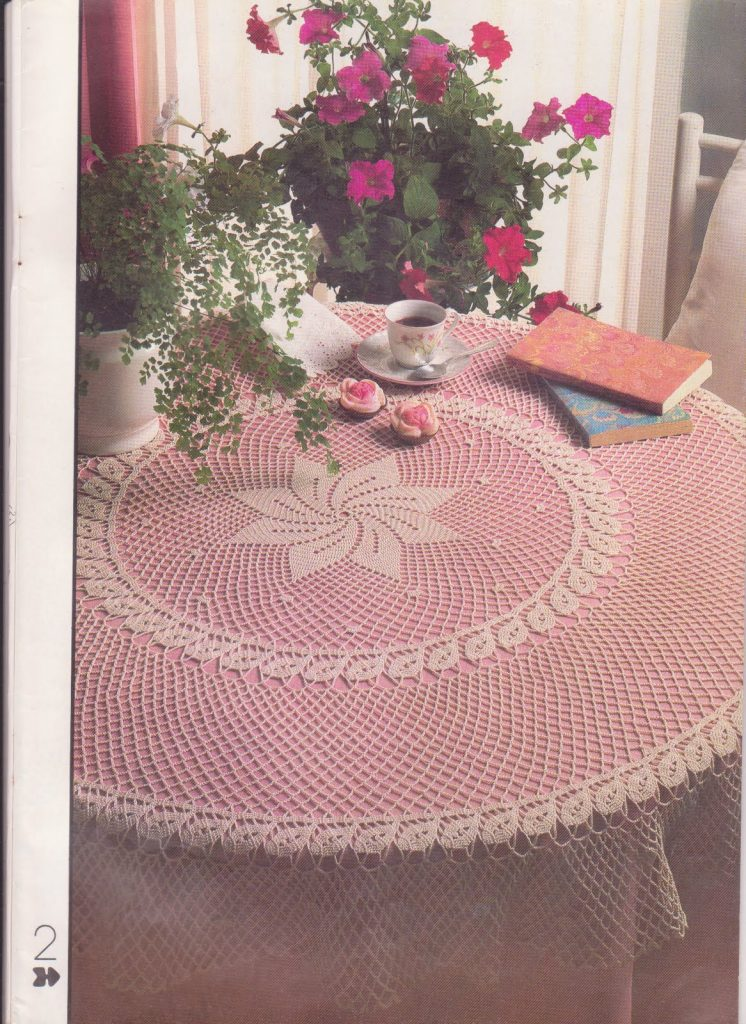 Round mesh lace tablecloth crochet pattern
