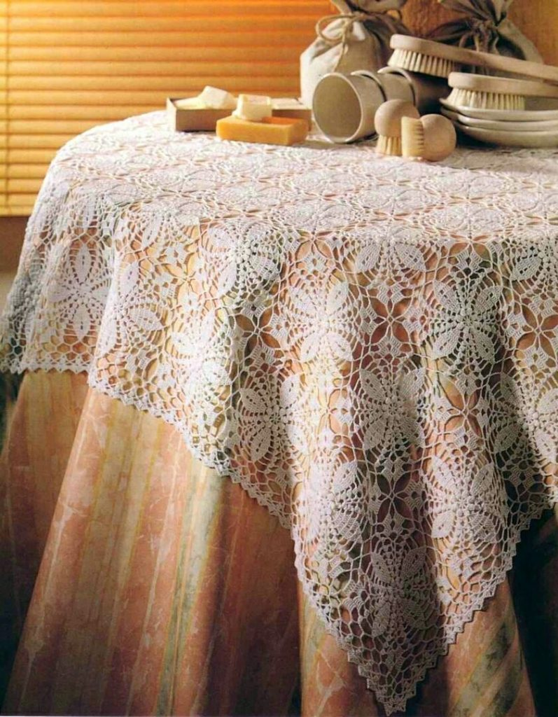 Square motif tablecloth crochet pattern