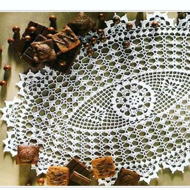 Oval lace crochet doily pattern