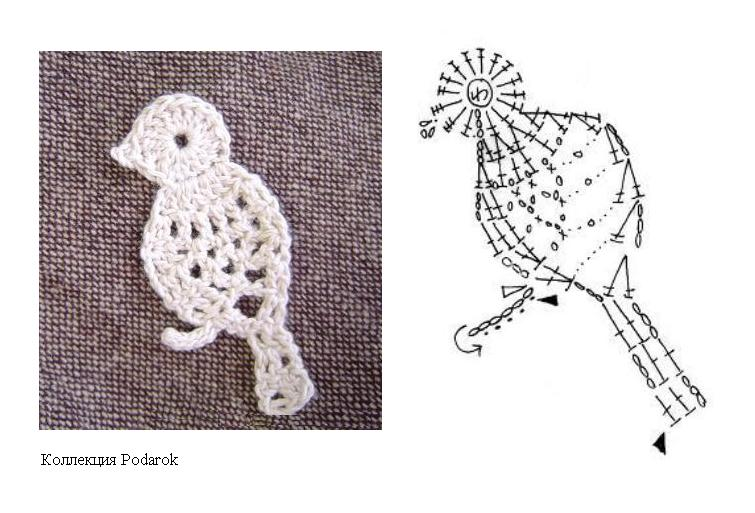 Bird lace crochet motif diagram