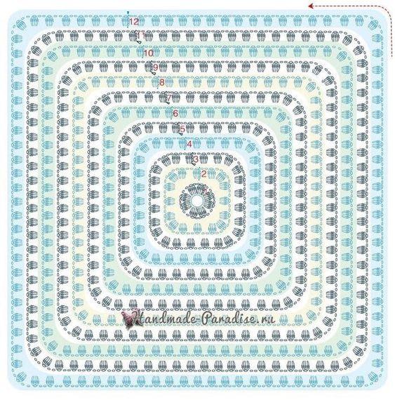 Bobble crochet granny square diagram