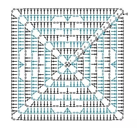 Crochet with heart square graphic