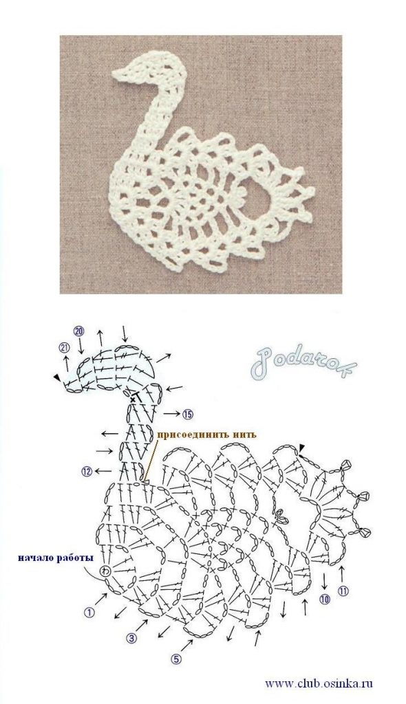 Pineapple swan crochet motif pattern