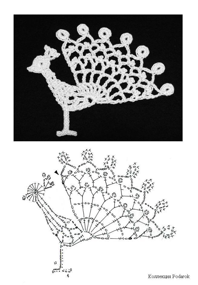 Peacock crochet motif