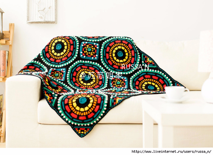 Stained glass looking crochet afghan.