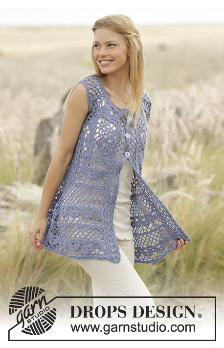 Vest with crochet square and lace pattern, worked top down