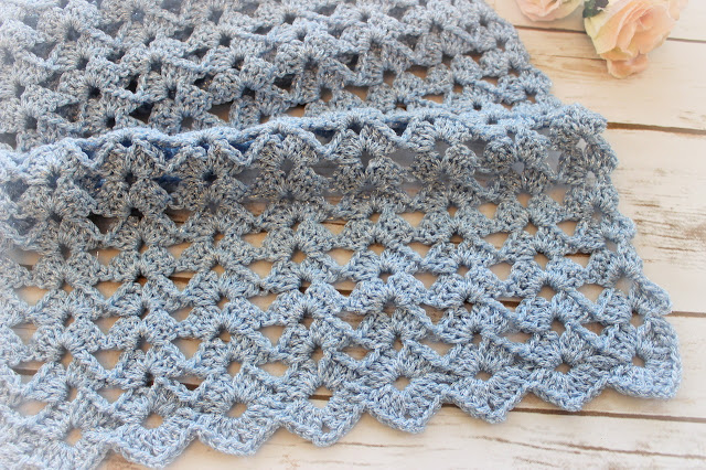 Blue Shimmer Lace Scarf, Free Crochet Pattern and Video Tutorial