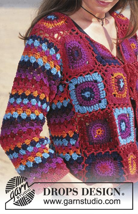 Bohemian crochet granny square cardigan free pattern