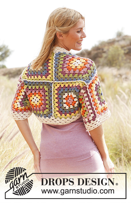 Crochet bolero with granny squares free pattern